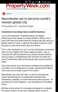 Manchester set to be world city