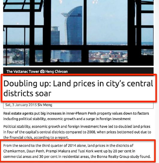 phnom penh land price soar