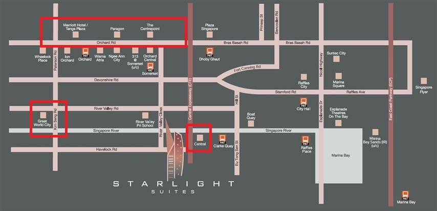 starlight suites location map