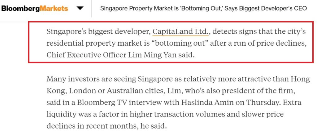 Capitaland detect bottoming property price