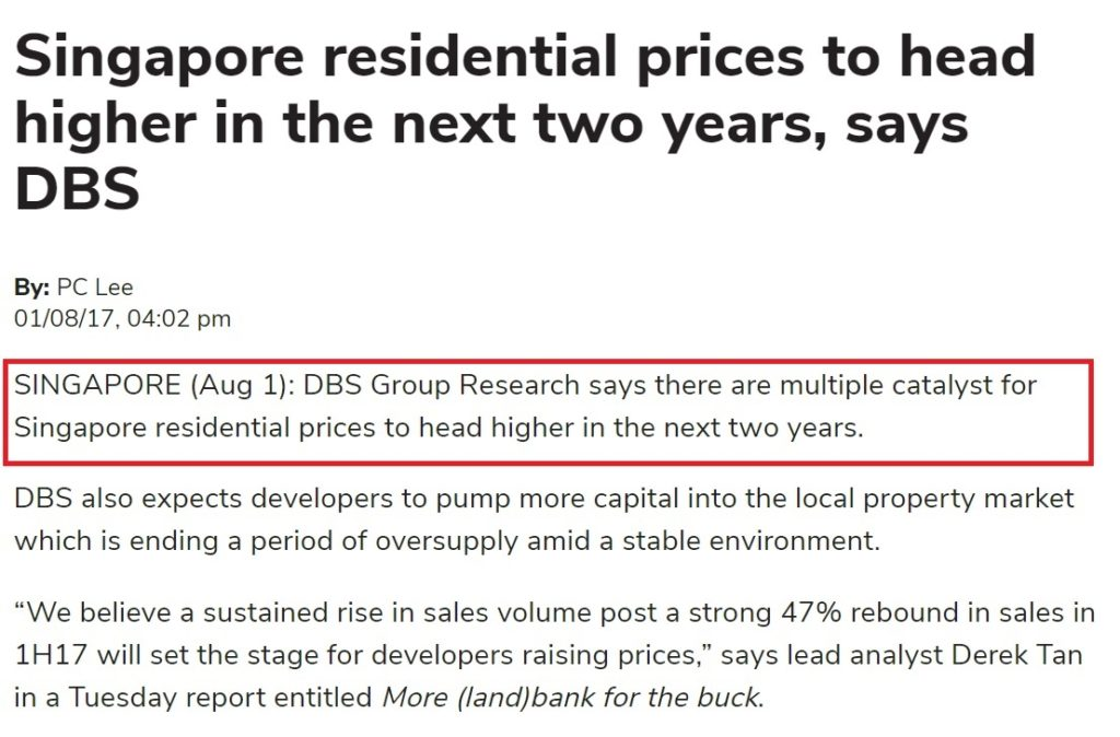 DBS higher residential price